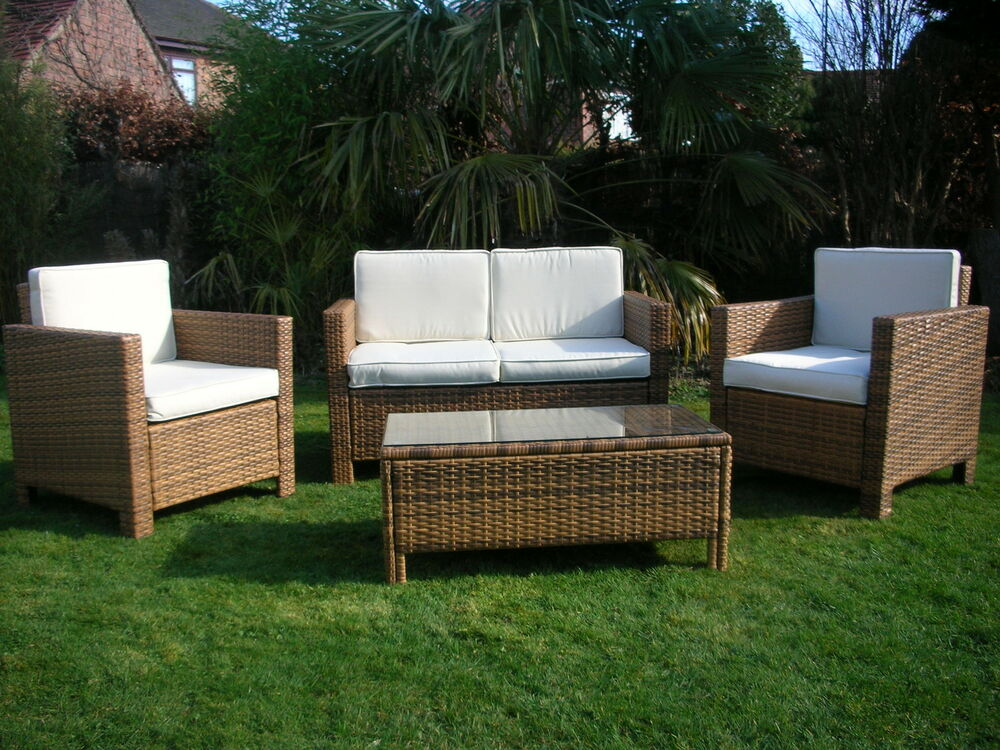 NEW RATTAN WICKER CONSERVATORY OUTDOOR GARDEN FURNITURE SET  EBay