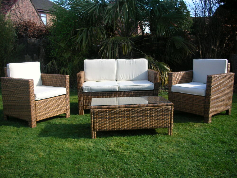 New rattan wicker conservatory outdoor garden furniture for Outdoor garden set