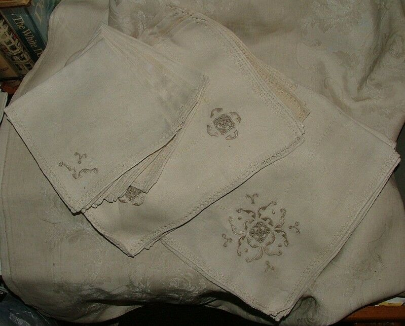 Early th century linen hand embroidered cutwork