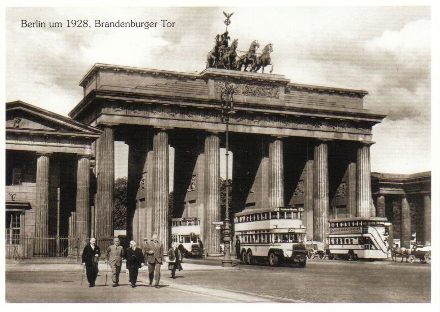 ansichtskarte doppelstockbusse und brandenburger tor berlin 1928 ebay. Black Bedroom Furniture Sets. Home Design Ideas