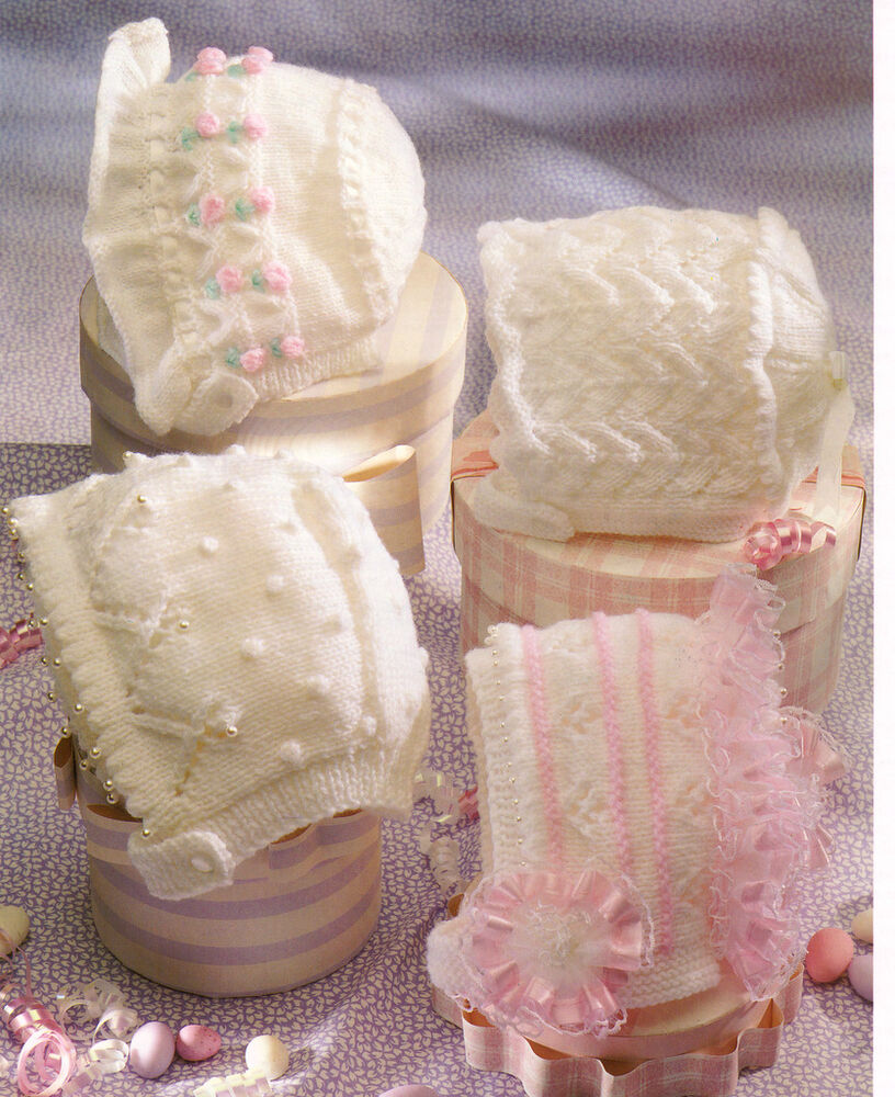 Christening Baby Bonnets To Knit - DK & 4 Ply - 0 - 2 yrs Beautiful Patte...