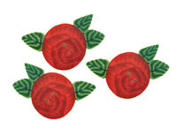 Tiny Red Cabbage Rose Polymer Clay Button Pack of 3 -about 1/2 inch -FREE SHIP