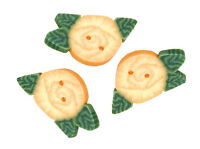 Tiny Yellow Cabbage Rose Polymer Clay Button Pack of 3 - about 1/2 inch