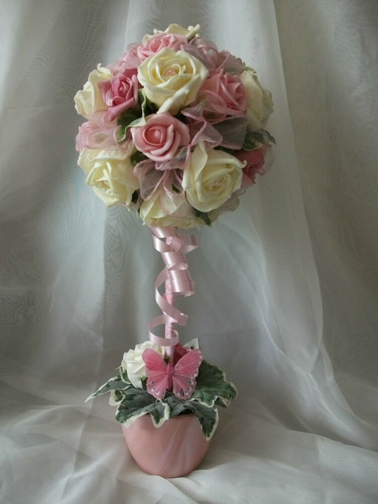 Beautiful pink ivory rose topiary tree wedding flowers