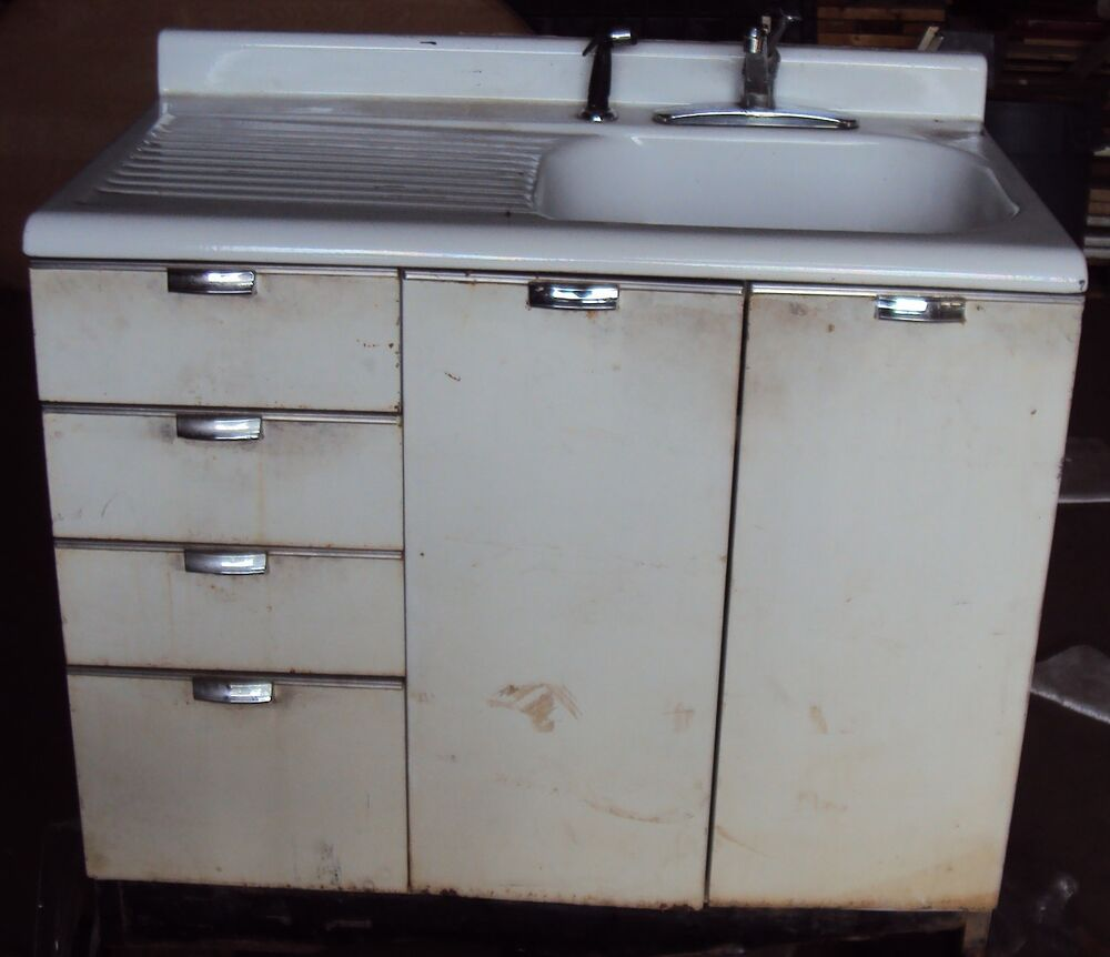 Vintage kitchen sink cabinet enamel steel w drawers ebay for Metal kitchen cabinets