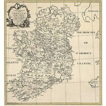 OLD IRELAND IRISH MAP MAYO MEATH MONAGHAN history large  SURNAMES !!