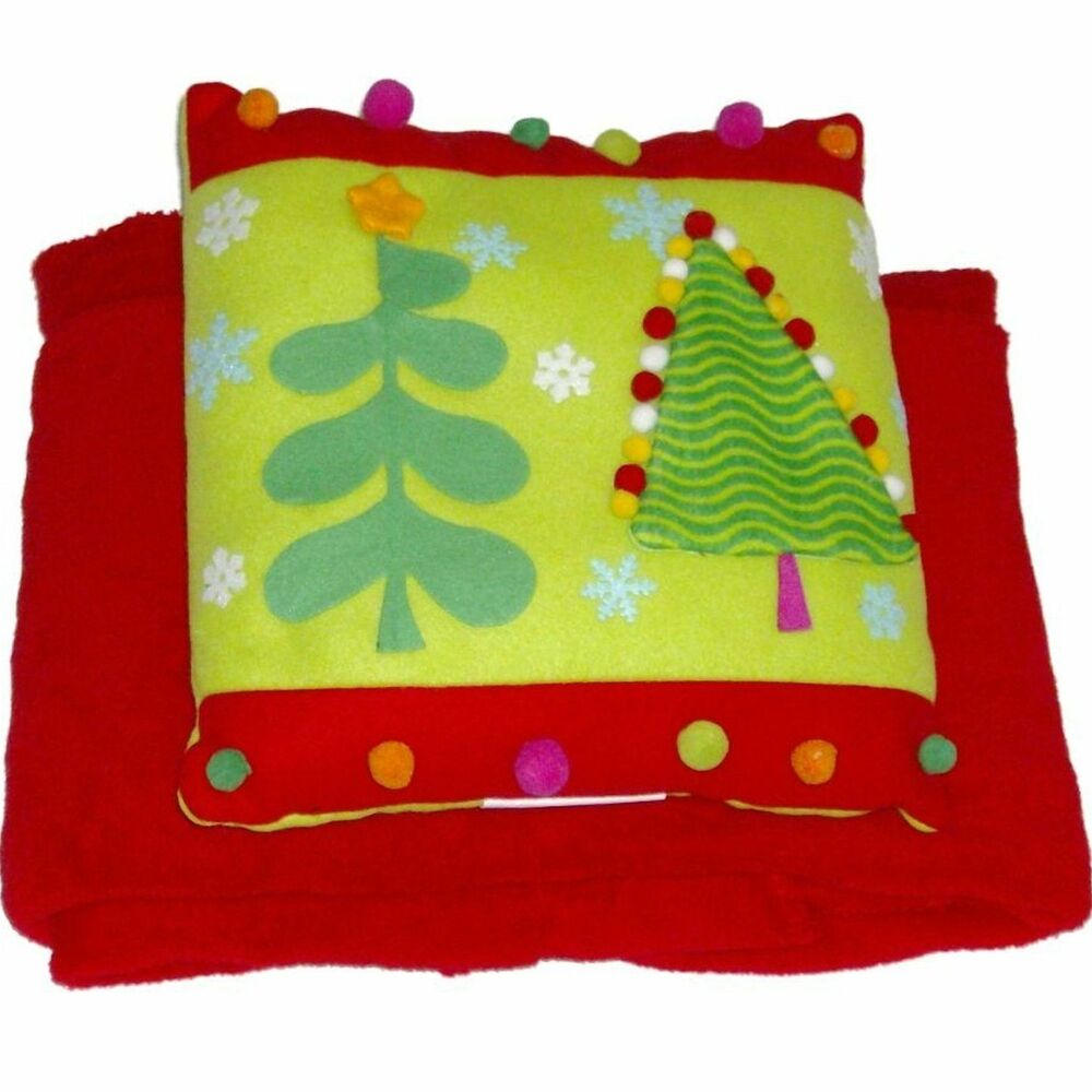 Holiday Time Pom Christmas Tree Accent Pillow & Super Soft Red Throw Blanket Set eBay