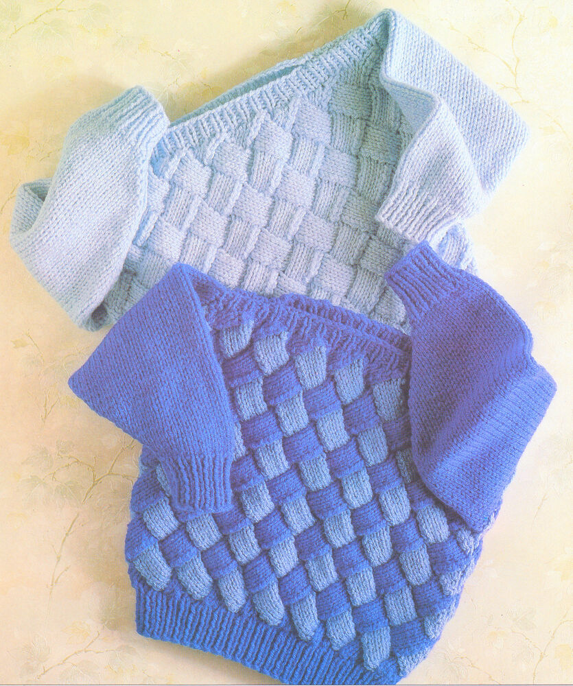 Knitting Pattern Baby Sweater Chunky Yarn : Chunky Wool Baby Childrens Sweaters Entrelac Knitting ...