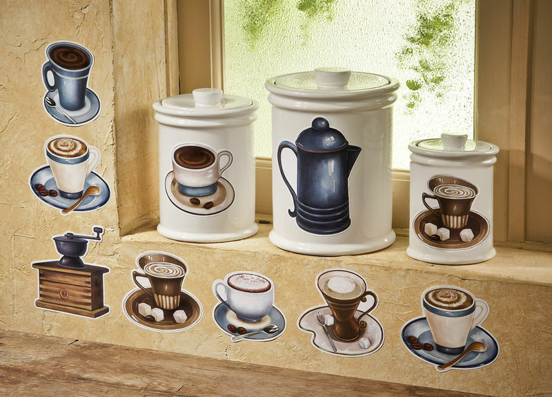 Coffee Cup Theme Latte Mocha Kitchen Removable Wall Decals