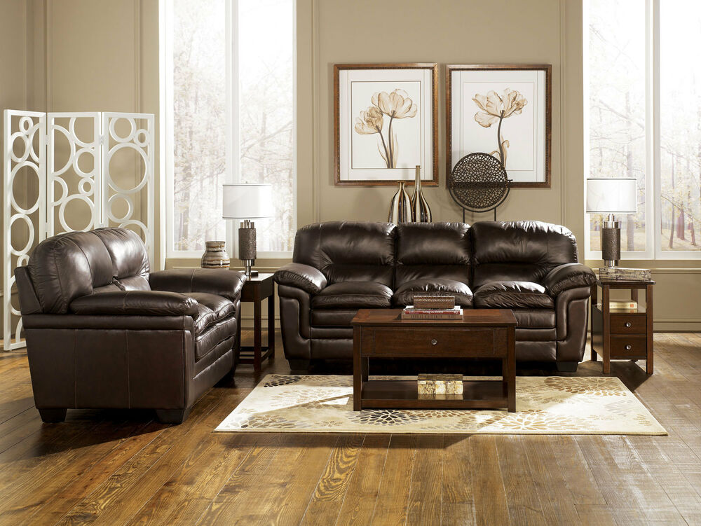parker contemporary genuine brown leather sofa couch set living room furniture ebay. Black Bedroom Furniture Sets. Home Design Ideas