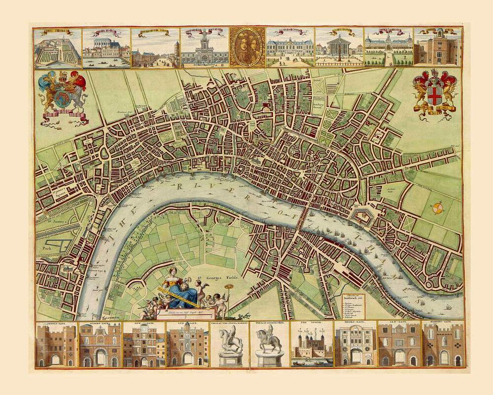 1680s Antique Map City of London Detailed