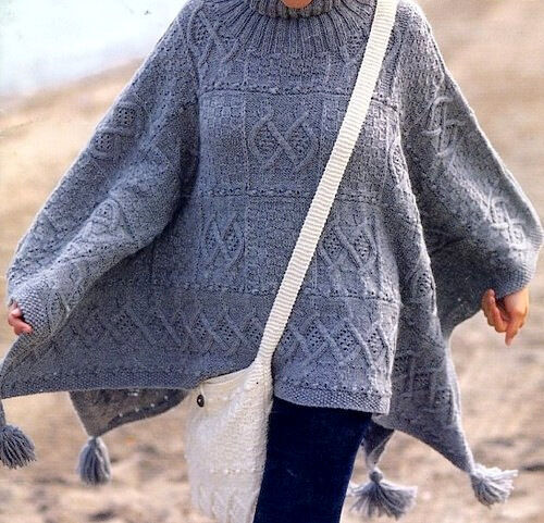 Aran Sampler Poncho with Tassels Cables & Diamonds & Matching Bag To ...