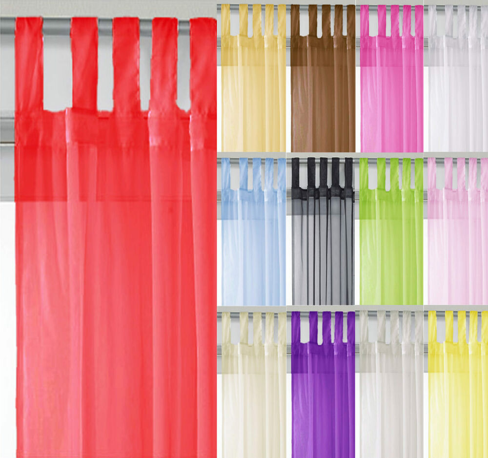 voile tab top curtain panel all sizes colours free p p ebay. Black Bedroom Furniture Sets. Home Design Ideas