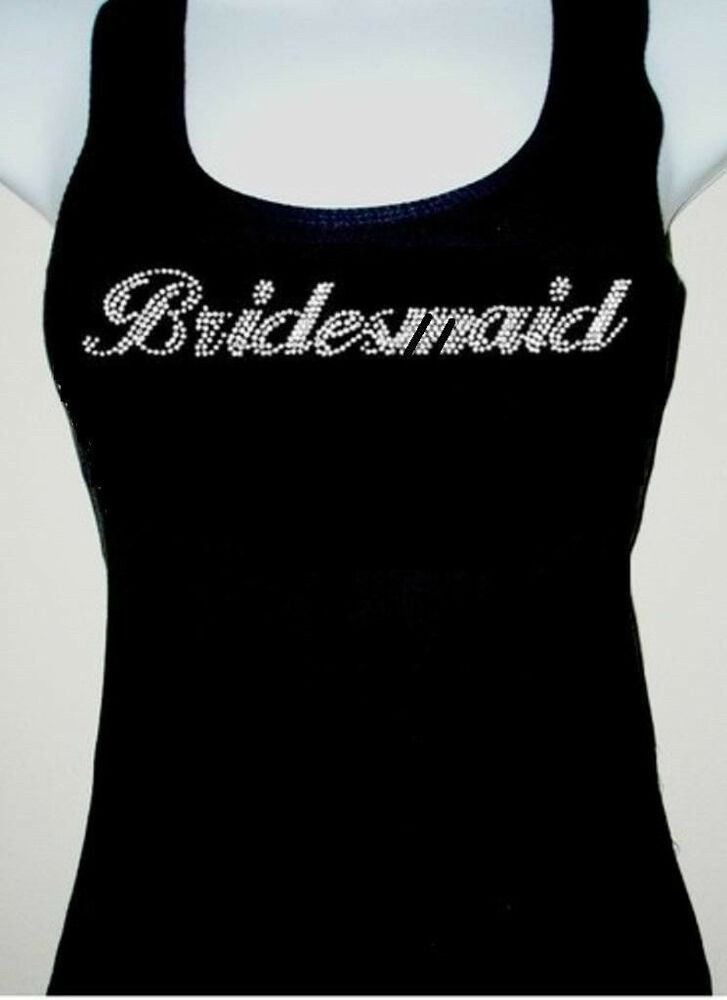 Rhinestone Bridesmaid Tank Top Black Size S M L Xl Tops
