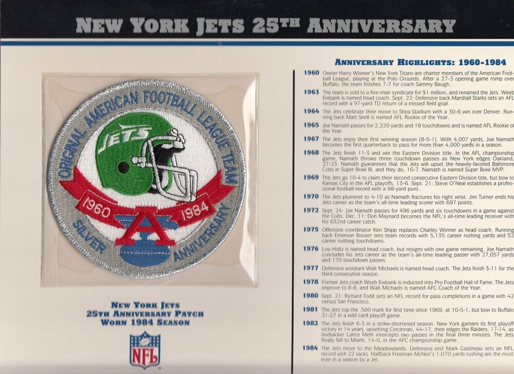 1984 Ny New York Jets 25th Anniversary Official Jersey