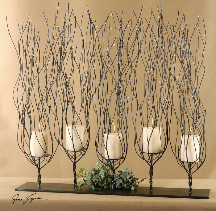 Tree branch candle holder twisted wire twig brown metal