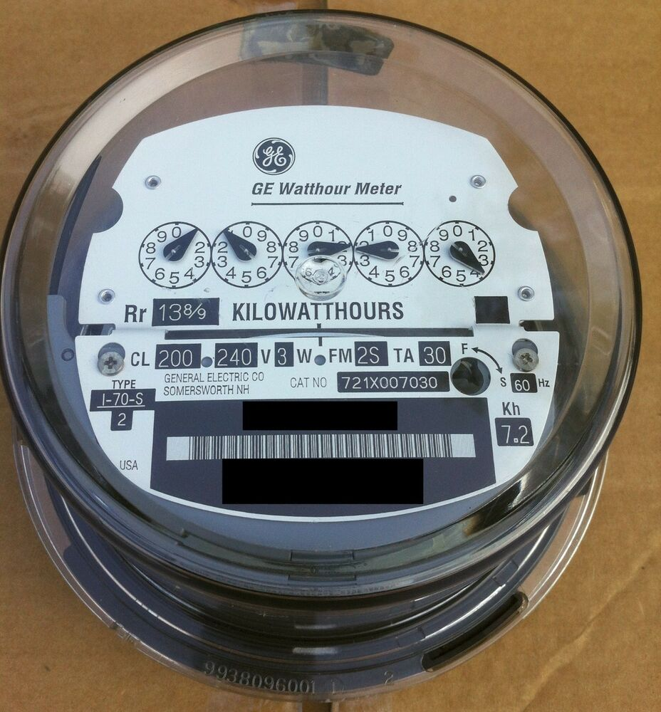 Ge Electric Watthour Meter Kwh Type I70s I 70s Fm 2s 240v Motor Wiring Diagram In Addition General 200a 5 Pointer Ebay
