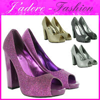 NEW LADIES STILETTO BLOCK HIGH HEEL GLITTER PEEP TOE SEXY SANDALS SIZES UK 3-8