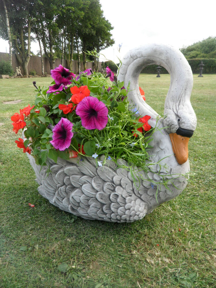 Swan planter stone garden ornament ebay for Nursery ornaments and decorations