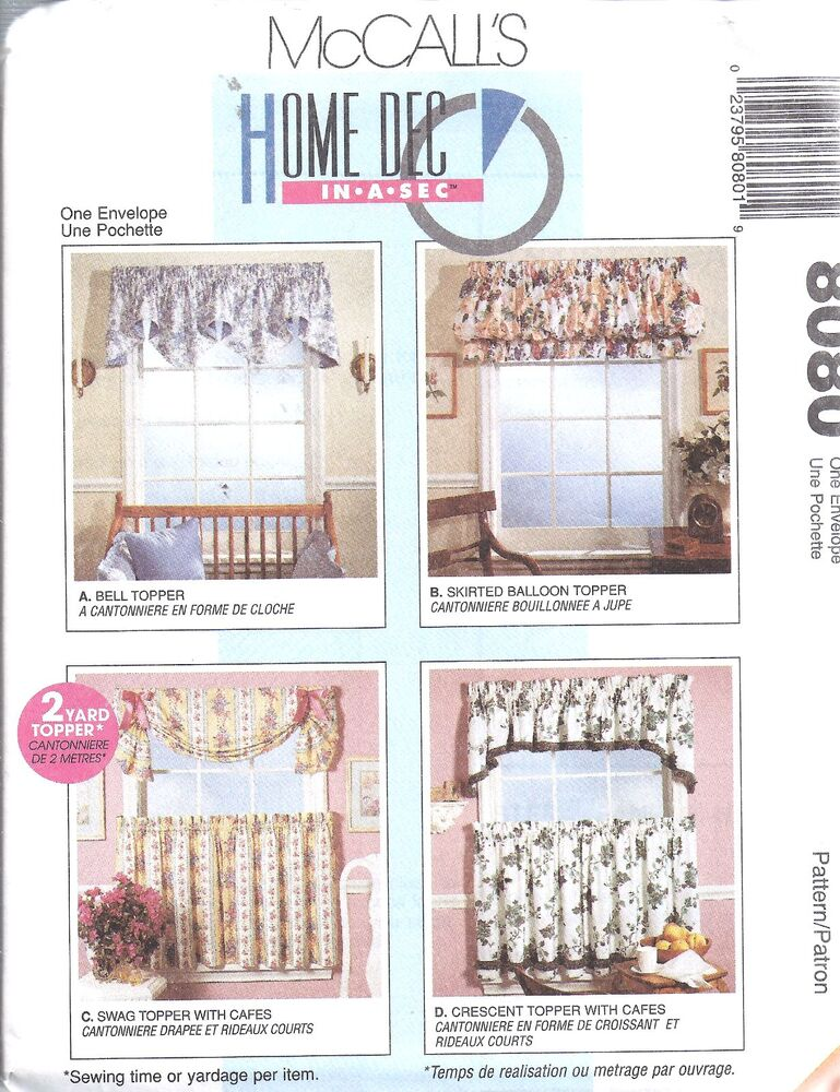 Uncut vintage mccalls sewing pattern window treatments for Professional window treatment patterns
