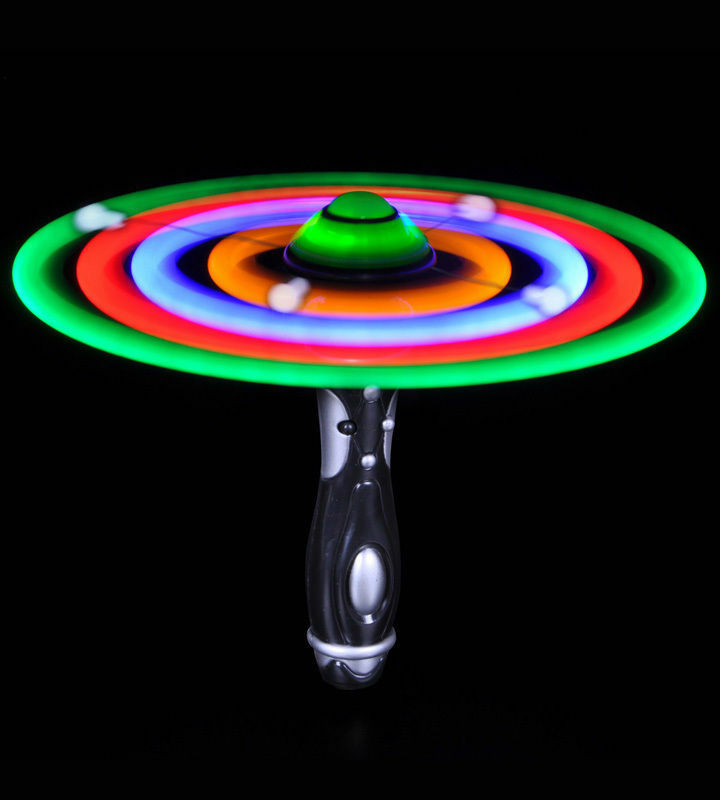 New led flashing ufo spinning alien space wand toy for for Light up fishing spinners
