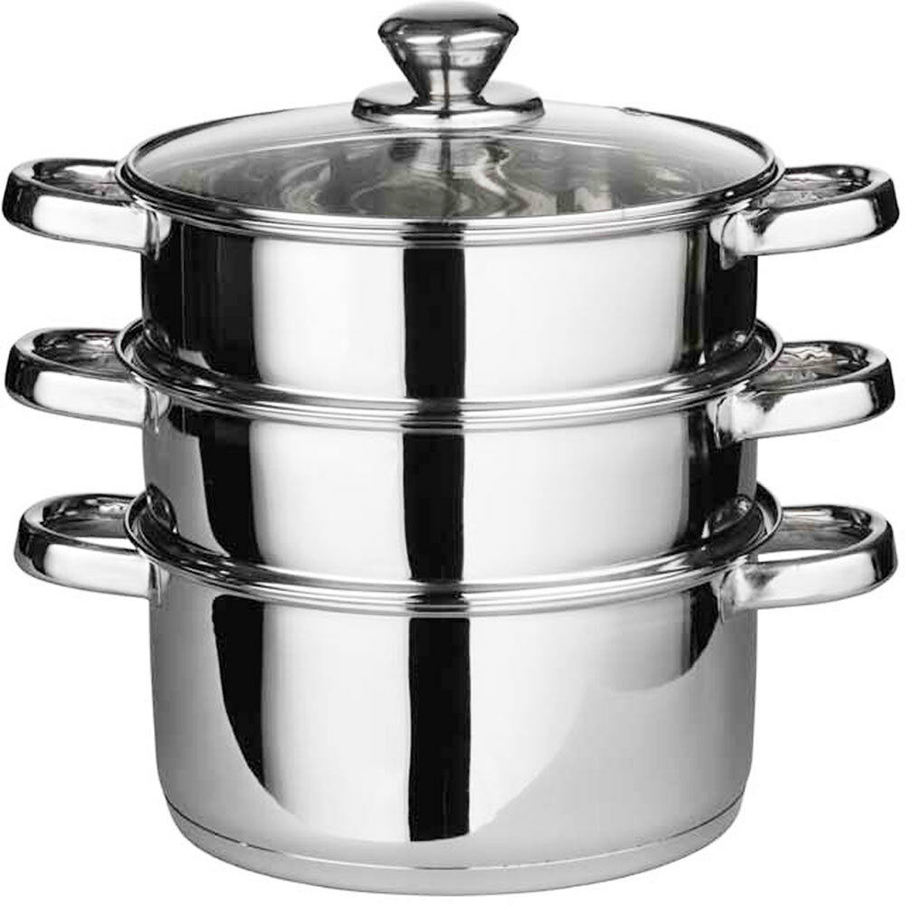 3pc 22cm stainless steel steamer cooker pot set glass lids 3 tier pan cook food ebay. Black Bedroom Furniture Sets. Home Design Ideas
