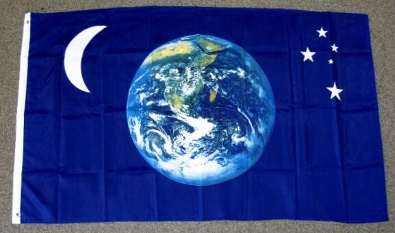 Flag On Planet Earth Viewed From Space Highly Detailed ...
