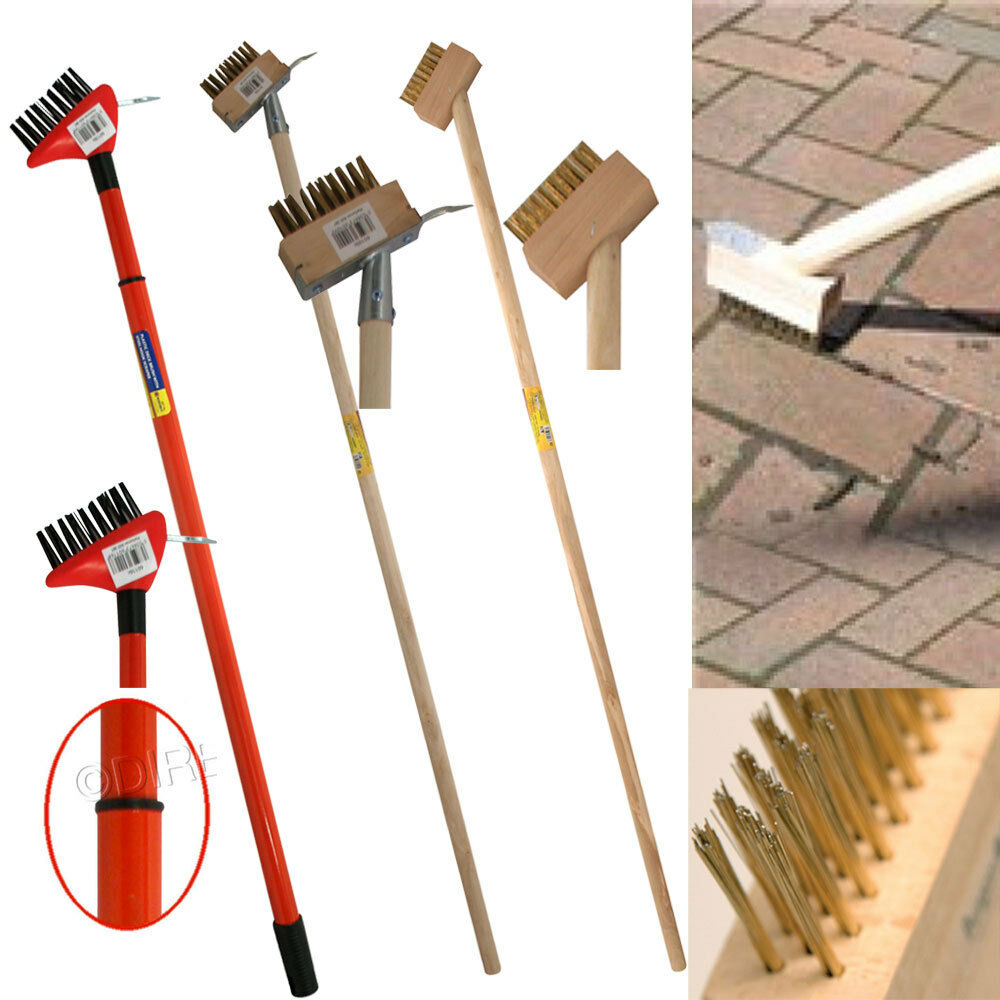 2 In 1 Hardwood Wire Patio Brush Deck Block Paving Weed
