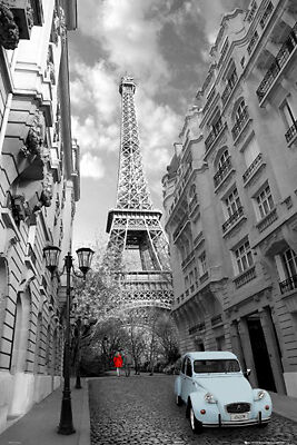 """PARIS POSTER 24""""x36"""" WOMAN IN A RED DRESS EIFFEL TOWER ..."""