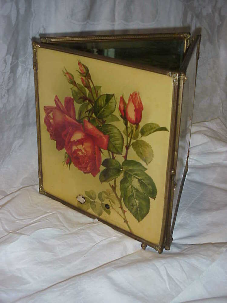 Antique Victorian Paul Delongpre Celluloid Print Roses Tri