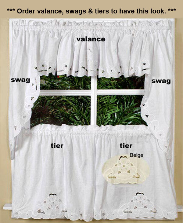 Cutwork Kitchen Curtain Valance Tier Swag White Or Beige