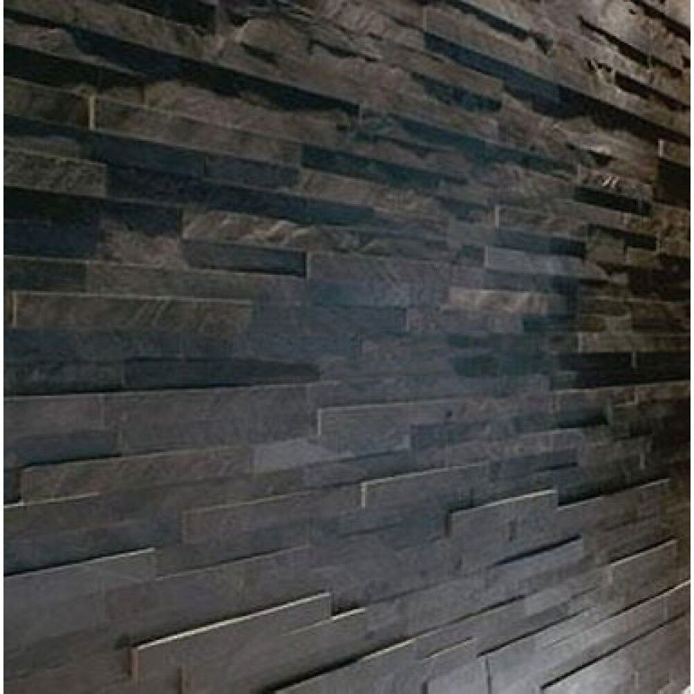 Splitface Black Slate Mosaic Tiles Sample Z Tile 3d