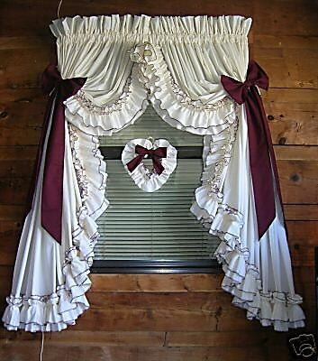 New Vickies Custom Made Country Ruffled Curtains 200x63 Ebay