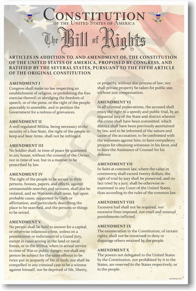 Comprehensive image in bill of rights printables