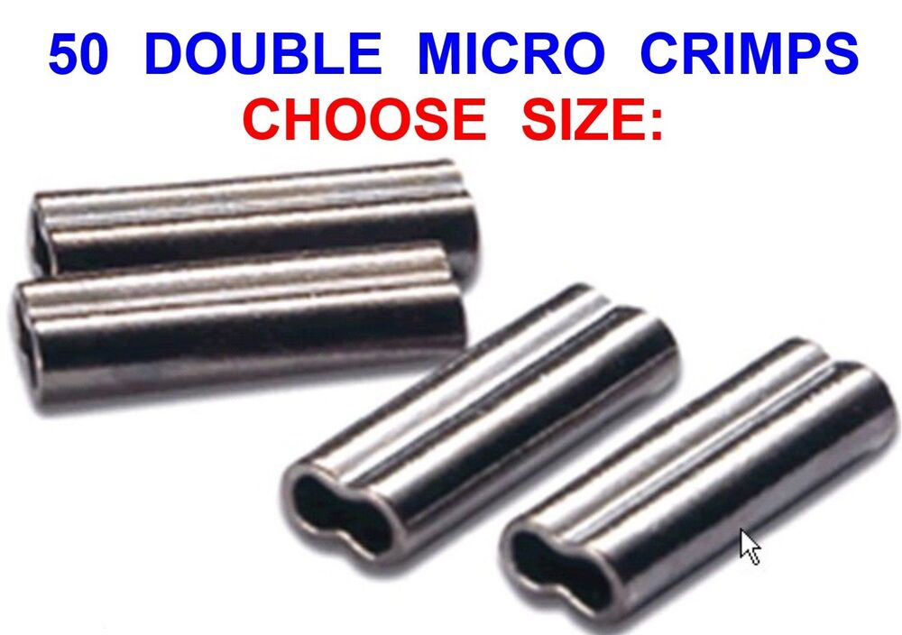 50 double micro crimps coarse sea fishing mini line mono for Fishing line crimps