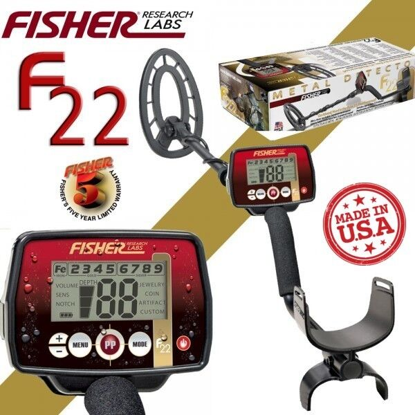 Fisher f22 metal detector for coins, jewelry, and relics wat.