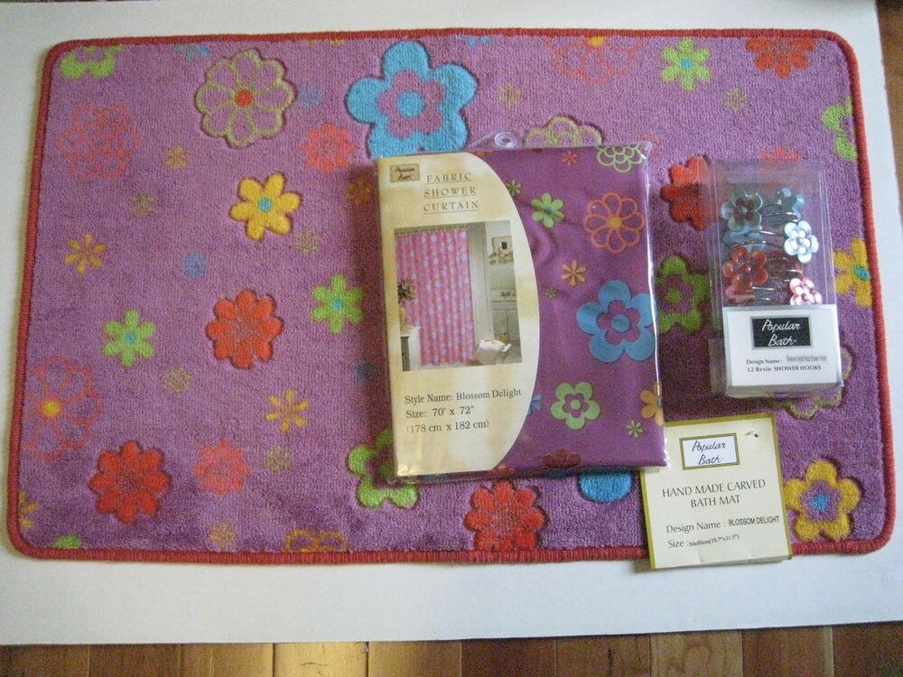 Flower power shower curtain rug hook towels 18pc bath set new ebay