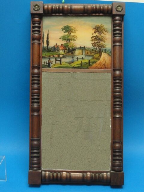Antique Federal Eglomise Mirror W Reverse Painted Glass