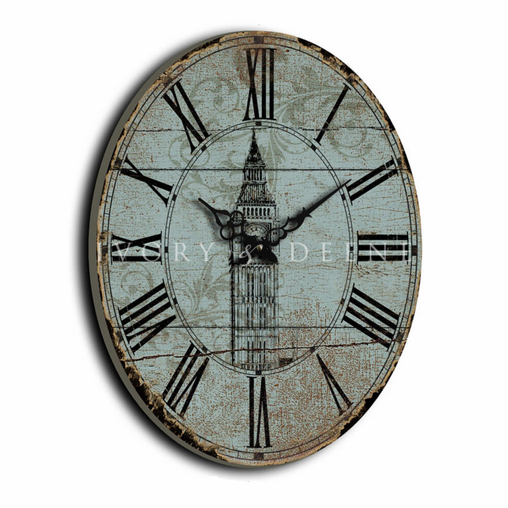 large 60cm vintage mint oval wall clock home numerals wood new ebay