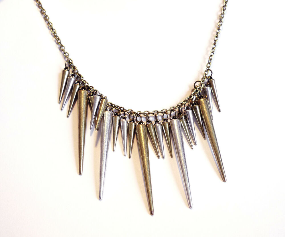 Bronze Gunmetal Spike Necklace Vintage Jewellery Gothic