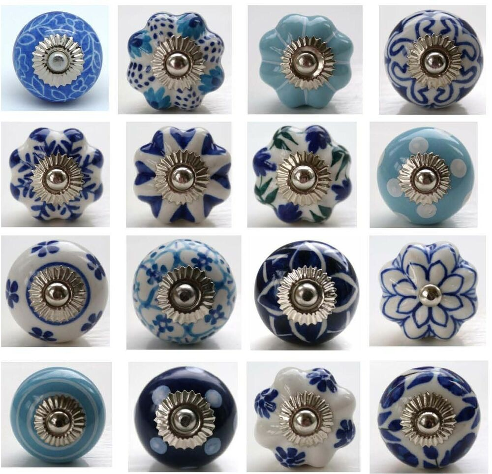 These Please Mixed Blue Amp White Ceramic Door Knobs Handles