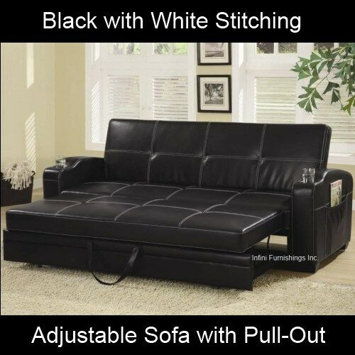 modern black adjustable sofa bed futon couch faux leather furniture pull out ebay. Black Bedroom Furniture Sets. Home Design Ideas