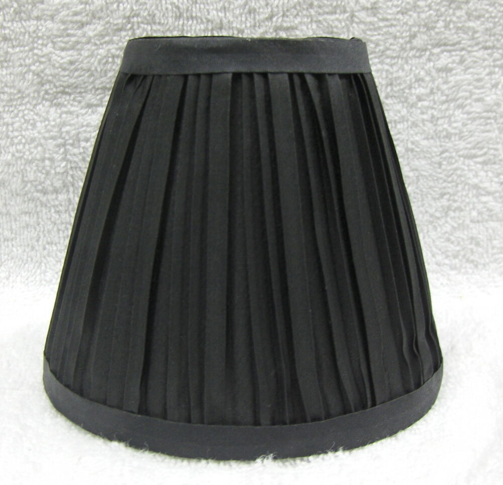 New BLACK Fabric Pleated Mini Chandelier Lamp Shade Any