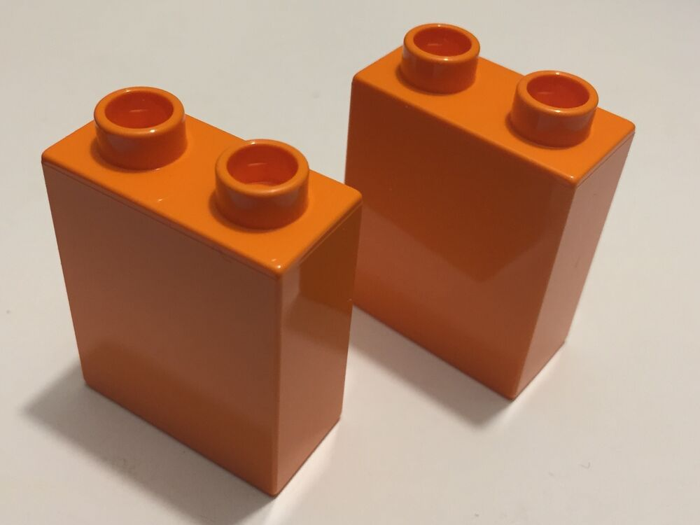 new 2 pieces lego duplo brick 1x2x2 orange ebay. Black Bedroom Furniture Sets. Home Design Ideas