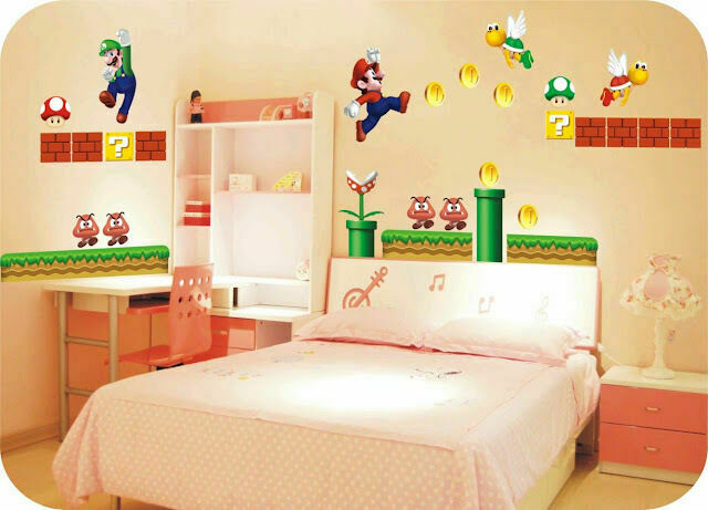 Super mario giant removable wall decor vinyl decal stickers nursery kids art au ebay - Super mario giant wall decals ...