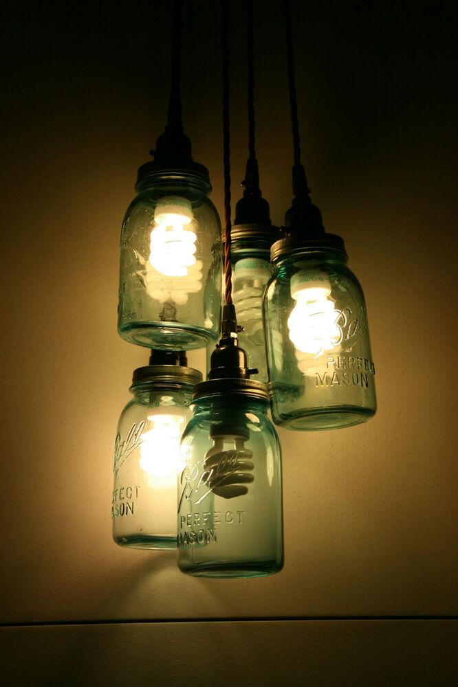 diy vintage mason jar chandelier light hanging pendant jars not included ebay. Black Bedroom Furniture Sets. Home Design Ideas