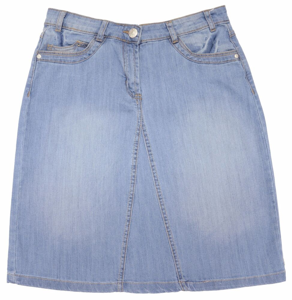 light blue wash stretch denim skirt size 10 12 14 16