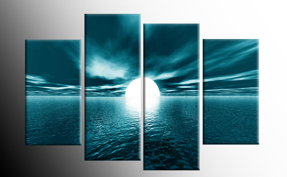 Large Teal Seascape Sunset Canvas Pictures Wall Art Split
