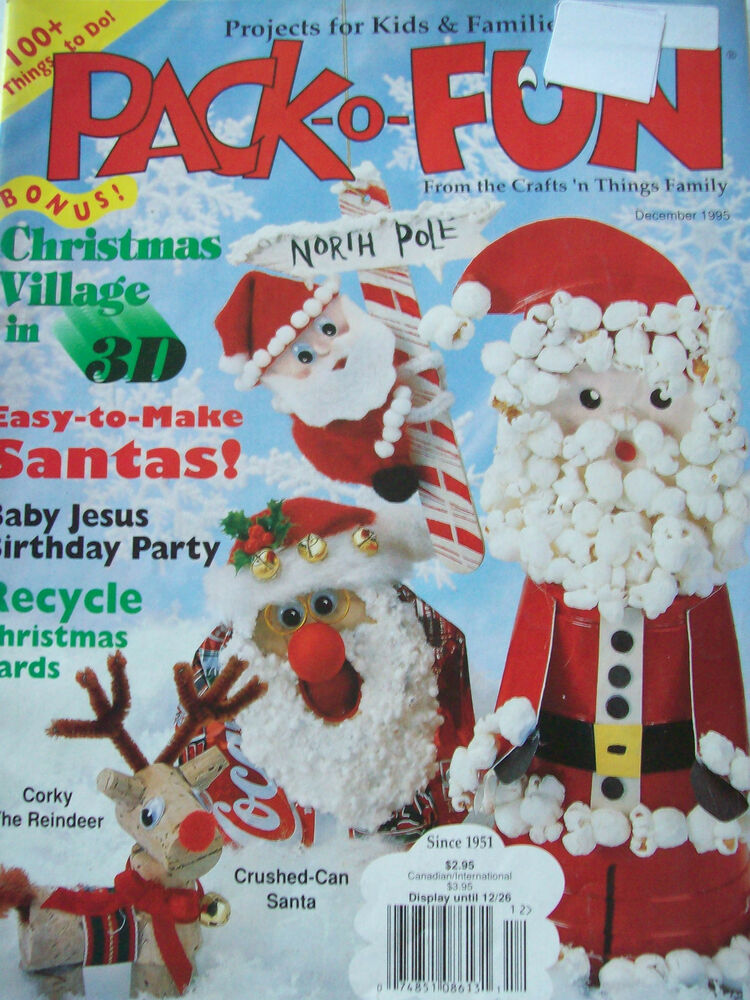 December 1995 Pack-O-Fun Craft Pattern Magazine Christmas Village ...