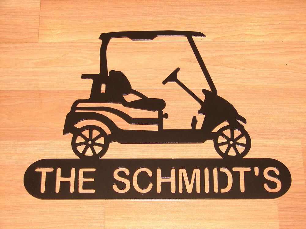 Golf cart welcome plaque sign home decor wall lg golfer for Location plaque garage